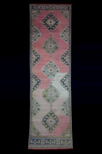 Turkish Rug Runner Nomadic Salmon Pink Rug Runner 3x12 Feet 103,355