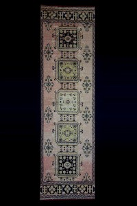 Turkish Rug Runner Old Salmon Pink Rug Runner 3x11 Feet 102,345