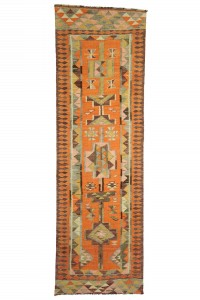 Turkish Rug Runner Orange Herki Kilim Rug Runner 8x9 86,280