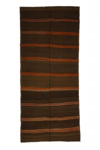 Turkish Natural Rug Orange Striped Brown Kilim Rug 5x11 Feet  143,326