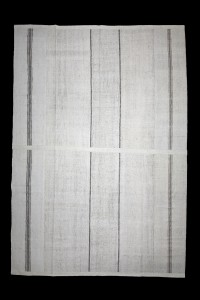 Turkish Natural Rug Oversized Gray Striped White Turkish Cotton Kilim Rug 10x15 Feet  310,446