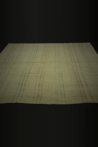 Pink,Blue Striped Cream Turkish Hemp Kilim Rug 7x9 Feet  203,292 - Turkish Hemp Rug  $i