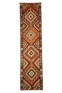 Turkish Rug Runner Pink Kilim Runner Rug 3x12 Feet 93,367
