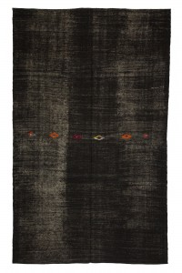 Goat Hair Rug Plain Black Turkish Kilim Rug 7x12 Feet  215,353