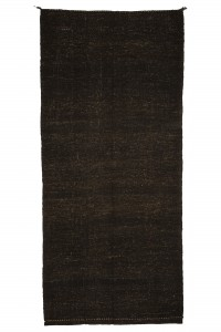 Goat Hair Rug Plain Brown Turkish Kilim rug 5x11 Feet  156,345