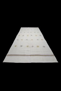 Pure Cotton Woven White Kilim Rug 6x12 Feet  170,360 - Turkish Natural Rug  $i