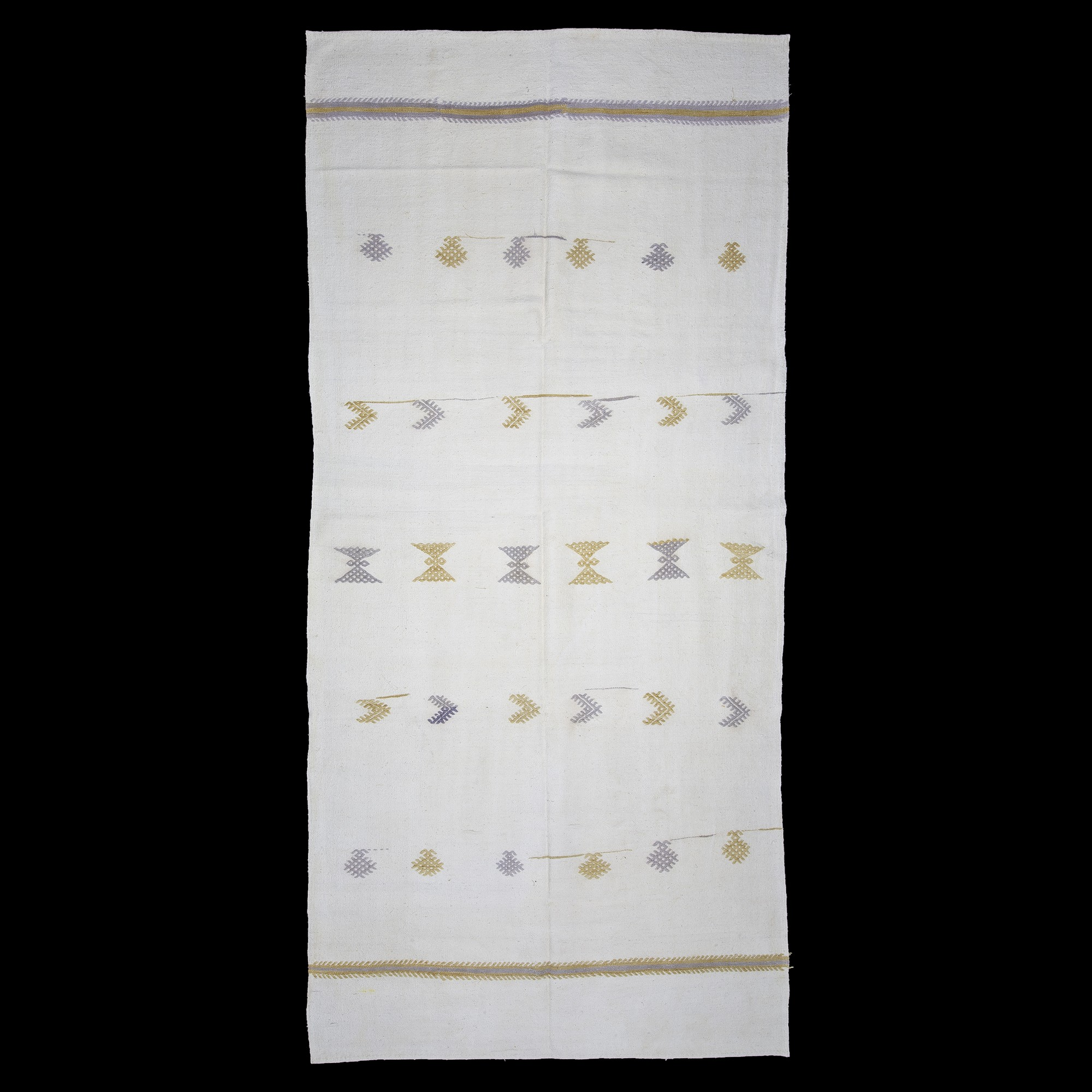 Pure Cotton Woven White Kilim Rug 6x12 Feet  170,360 - Turkish Natural Rug