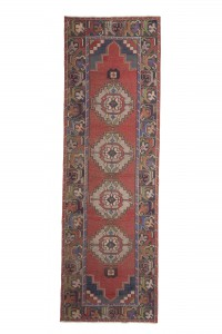Turkish Rug Runner Red Blue Oushak Rug Runner 3x10 Feet 98,293