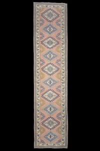 Turkish Rug Runner Salmon Pink Blue Rug Runner 3x12 Feet 84,374