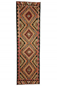 Turkish Rug Runner Shine Bright Like a Diamond Pattern Kilim Runner Rug 3x11 Feet 99,342