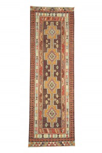 Turkish Rug Runner Soft Purple Kilim Rug Runner 3x10 Feet 98,304