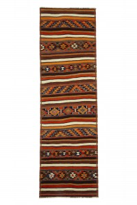 Turkish Rug Runner Striped Kilim Rug Runner 3x10 Feet 94,306