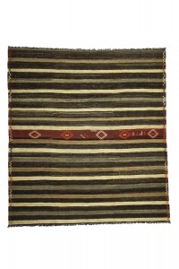 Goat Hair Rug Striped Natural Turkish Kilim Rug 7x8 Feet  218,238