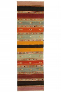 Turkish Rug Runner Striped Turkish Flat Weave Rug Runner 3x8 78,257