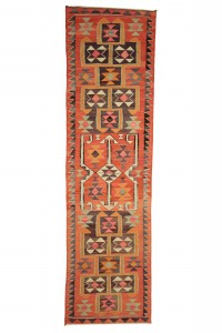 Turkish Rug Runner Turkish Wool Kilim Rug Runner 3x11 Feet 97,349