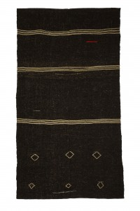 Goat Hair Rug Vintage Brown Turkish Kilim Rug 6x10 Feet  170,306