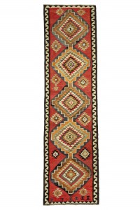 Turkish Rug Runner Vintage Kilim Rug Runner 3x12 Feet 96,351