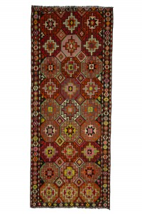 Turkish Rug Runner Vintage Kilim Rug Runner 5x11 Feet 140,342