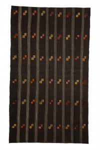 Goat Hair Rug Vintage Turkish Brown Kilim Rug 6x10 Feet  186,318