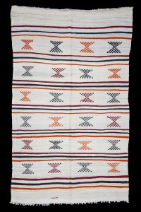 Turkish Natural Rug White Orange Turkish Kilim Rug 5x8 Feet  160,256